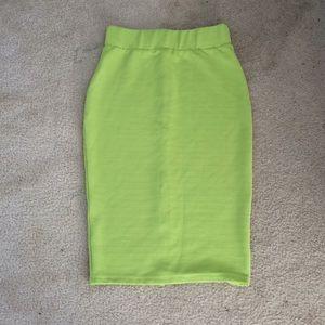 Dresses & Skirts - Lime green ribbed Pencil skirt!